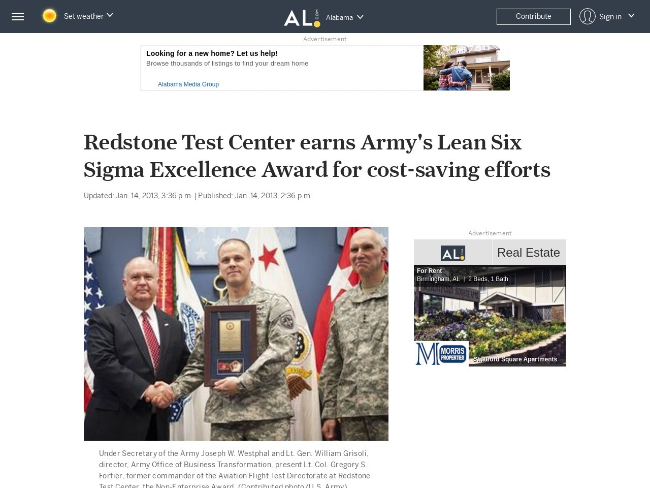 Redstone Test Center earns Army's Lean Six Sigma Excellence Award for cost …