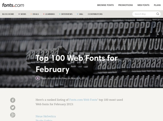 Top 100 Web Fonts for February ? fonts.com blog