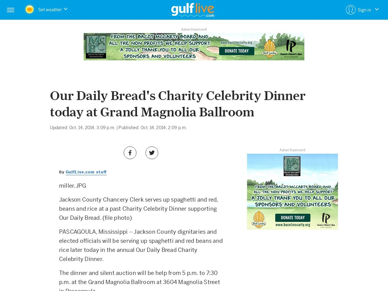 Our Daily Bread's Charity Celebrity Dinner today at Grand Magnolia Ballroom