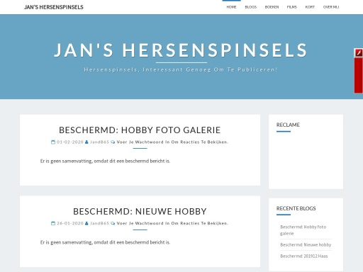 Screen shot van blog site JandB