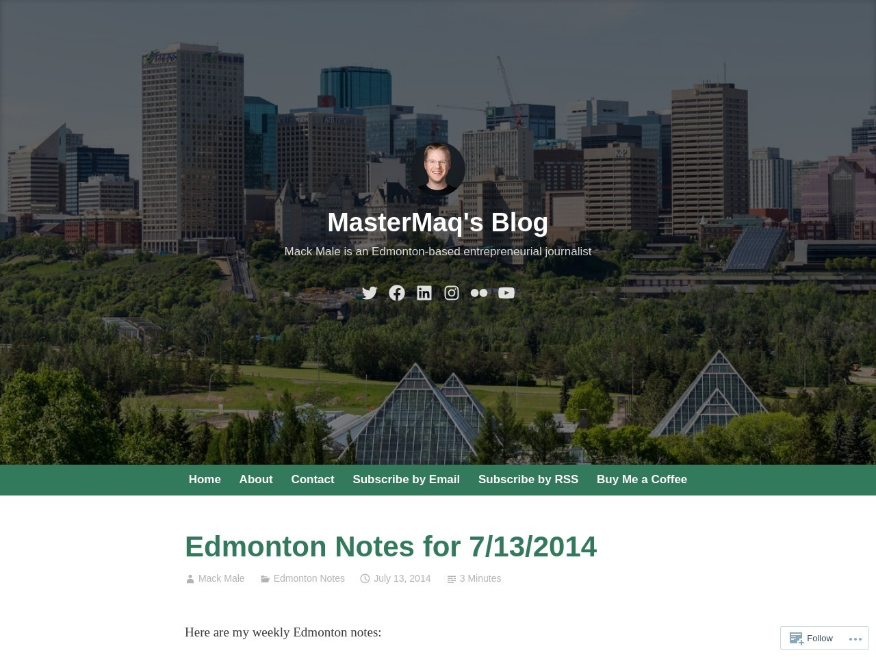 Edmonton Notes for 7/13/2014 – MasterMaq's Blog