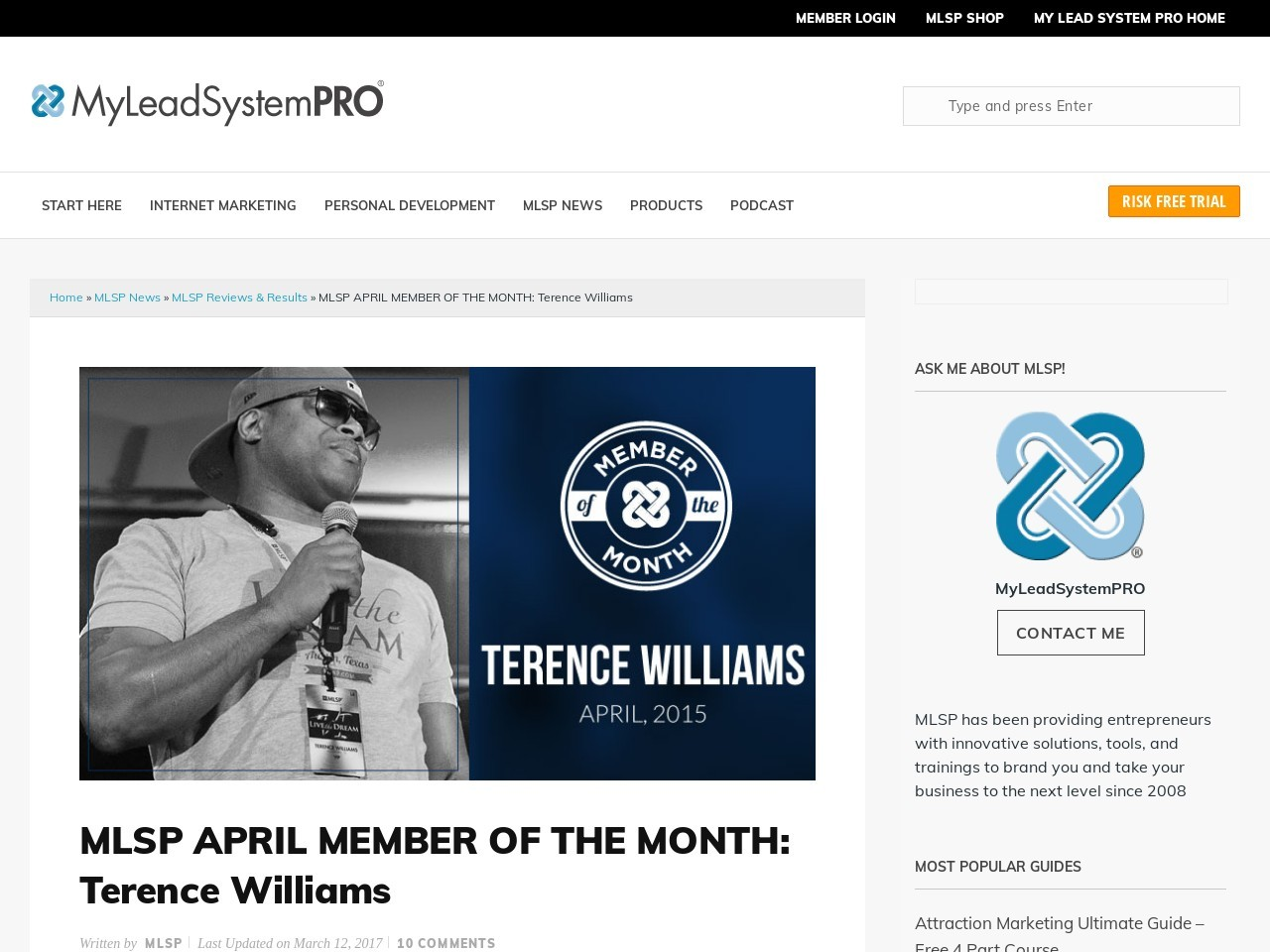 MLSP APRIL MEMBER OF THE MONTH: Terence Williams …