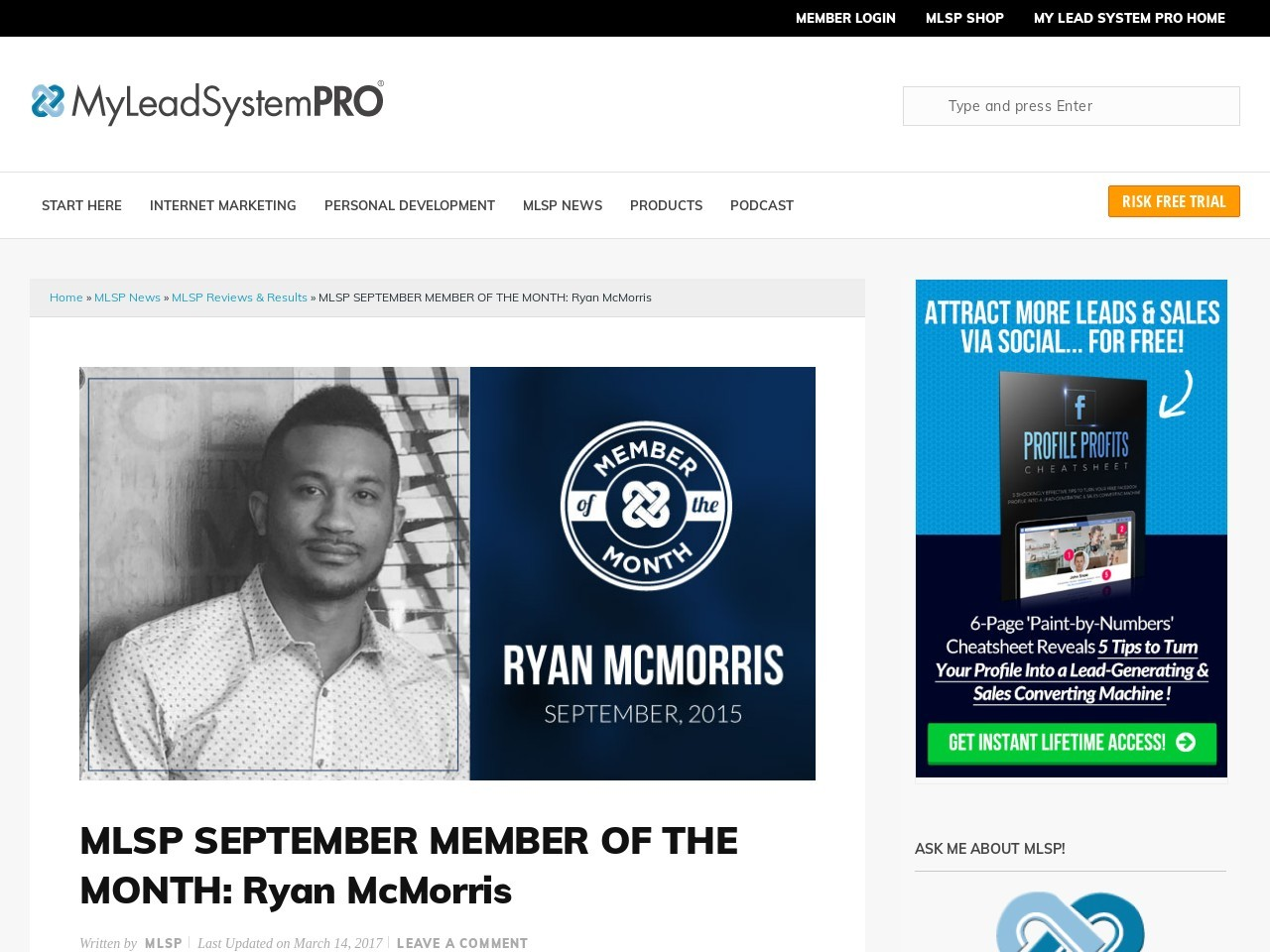 MLSP SEPTEMBER MEMBER OF THE MONTH: Ryan …