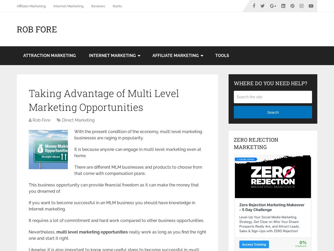 Taking Advantage of Multi Level Marketing Opportunities