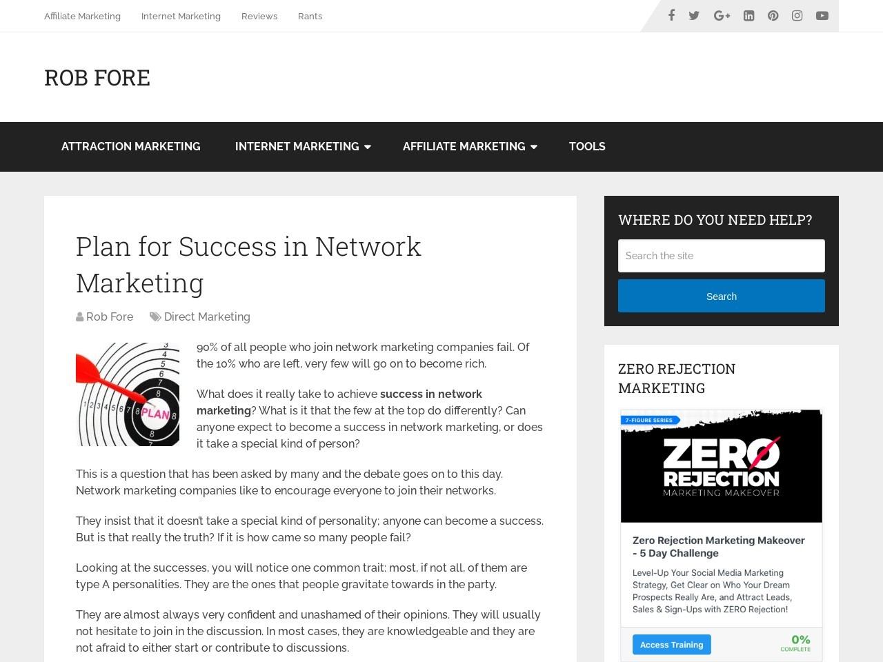 Plan for Success in Network Marketing