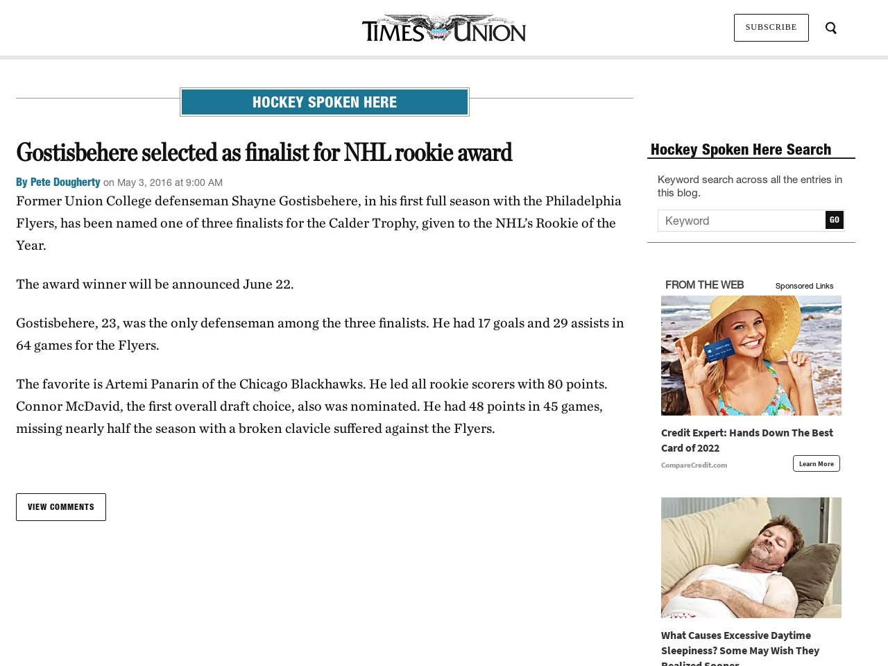 Gostisbehere selected as finalist for NHL rookie award