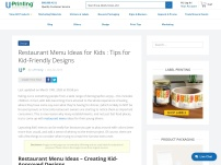Restaurant Menu Ideas for Kids : Tips for Kid-Friendly Designs