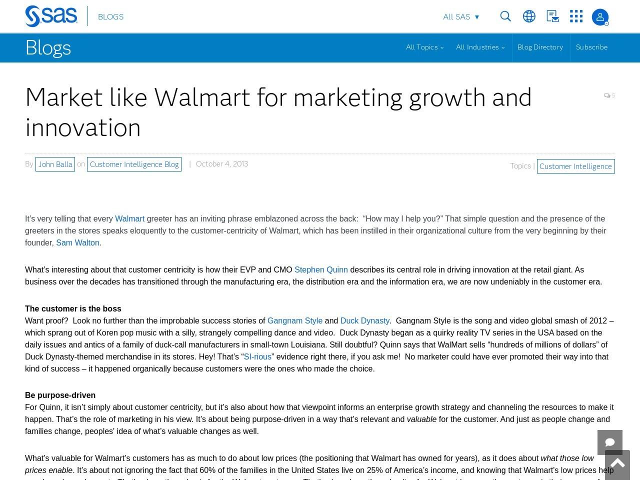 Market like Walmart for marketing growth and innovation – SAS Blogs