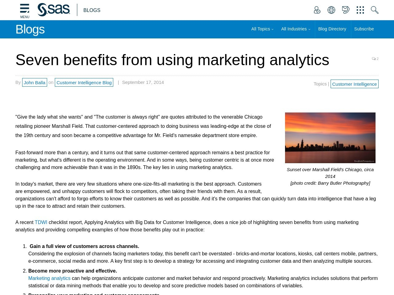 Seven benefits from using marketing analytics – SAS Blogs