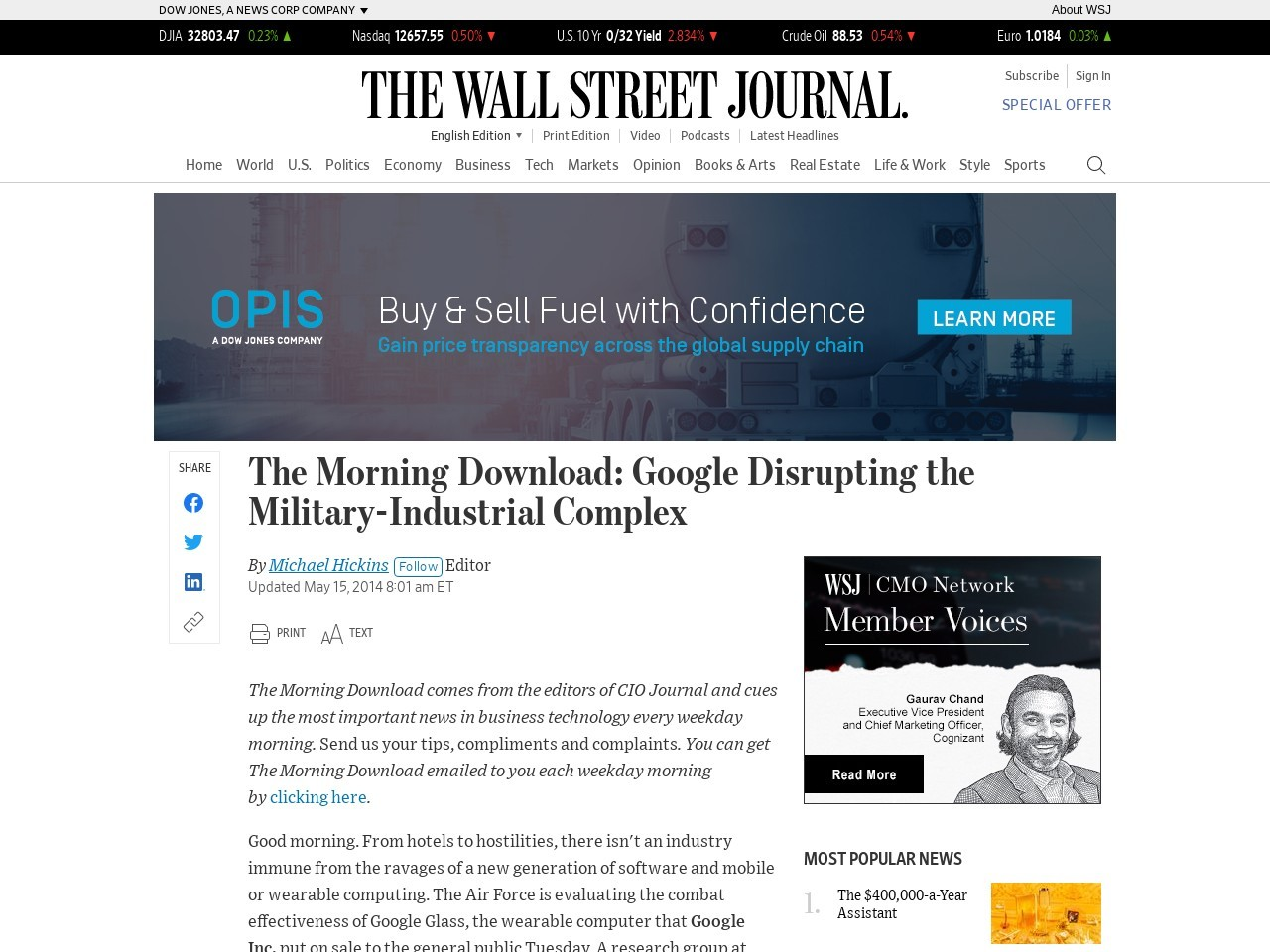 The Morning Download: Google Disrupting the Military-Industrial Complex