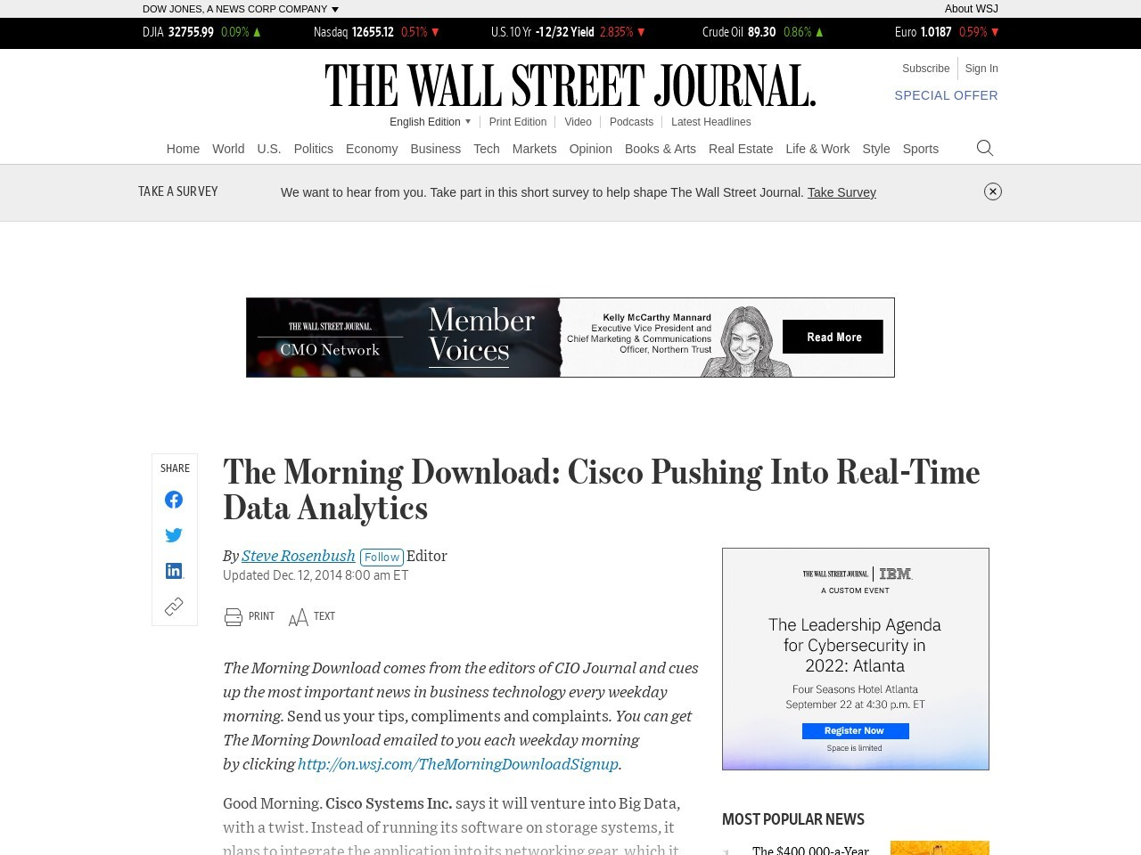 The Morning Download: Cisco Pushing Into Real-Time Data Analytics