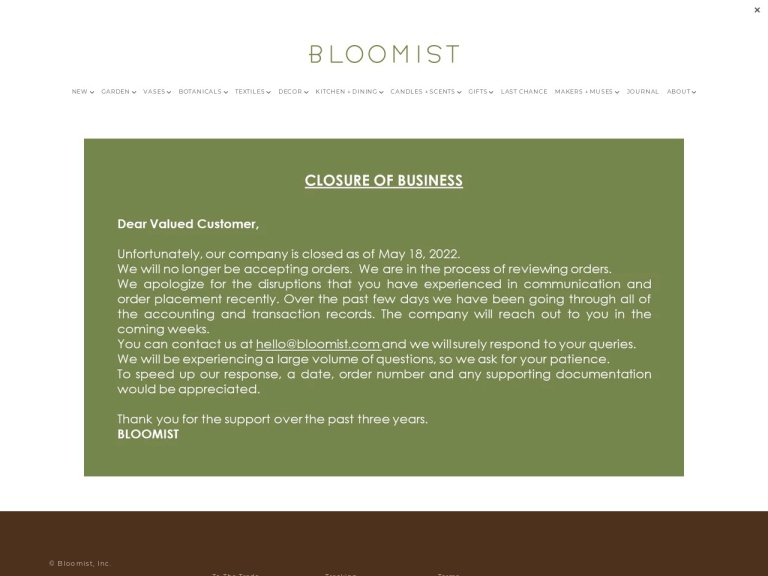 Bloomist, Inc Coupon Codes & Promo codes