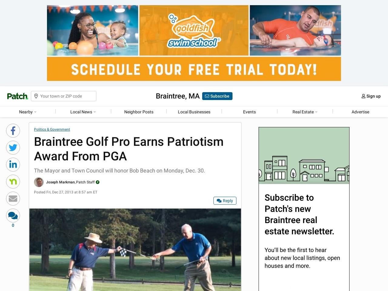 Braintree Golf Pro Earns Patriotism Award From PGA