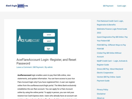 AceFlareAccount Login -Register, and Reset Password