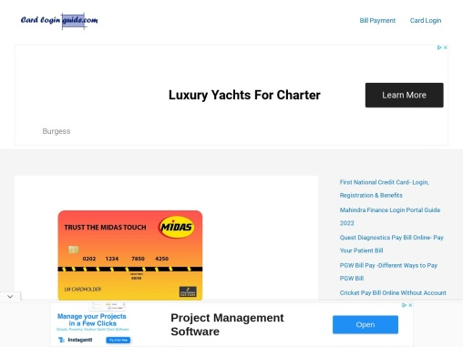 Midas credit card login – Apply, Sign Up, and Payment