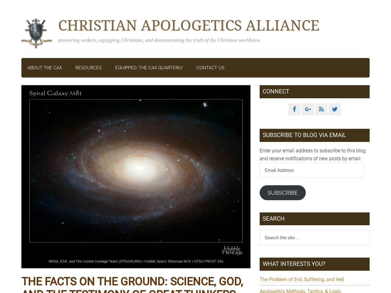 The Facts on the Ground: Science, God, and the testimony …