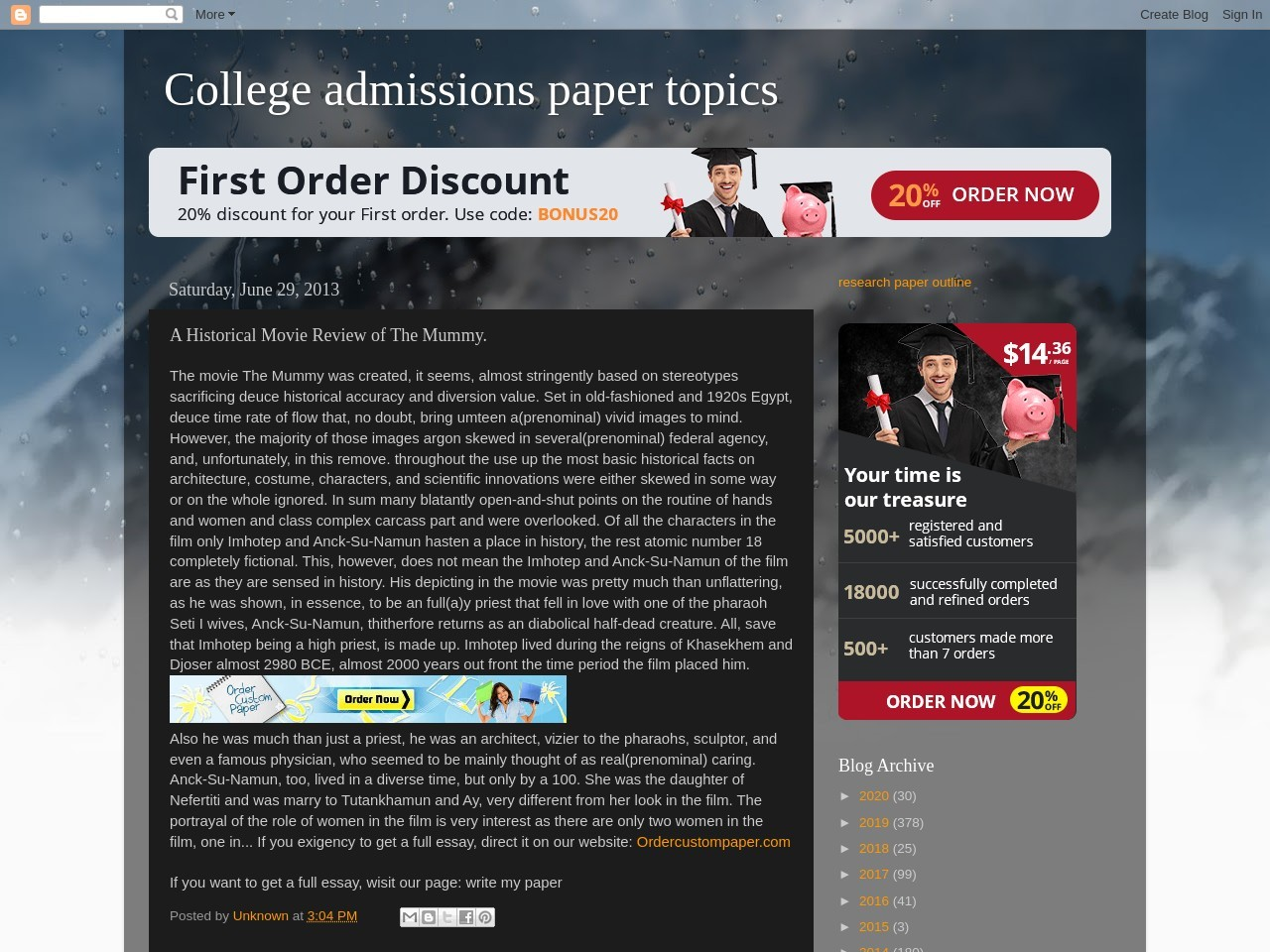 College admissions paper topics: A Historical Movie Review …
