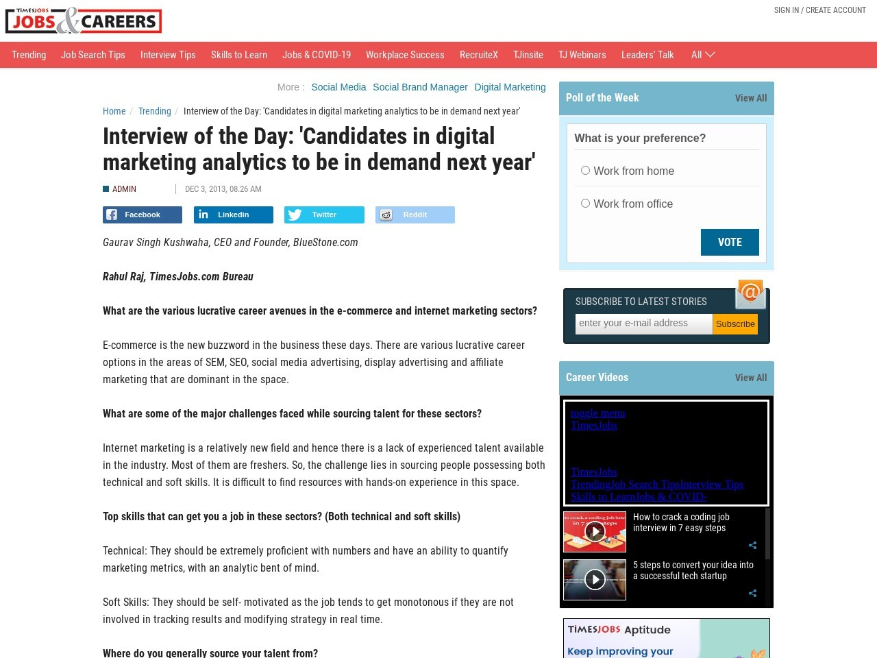 Interview of the Day: 'Candidates in digital marketing analytics