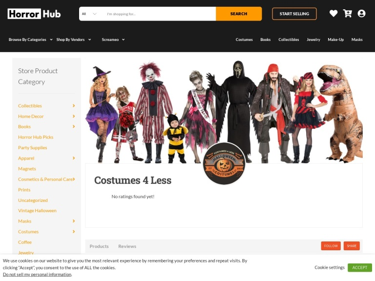 Anilta Corporation dba Costumes4less.com® screenshot