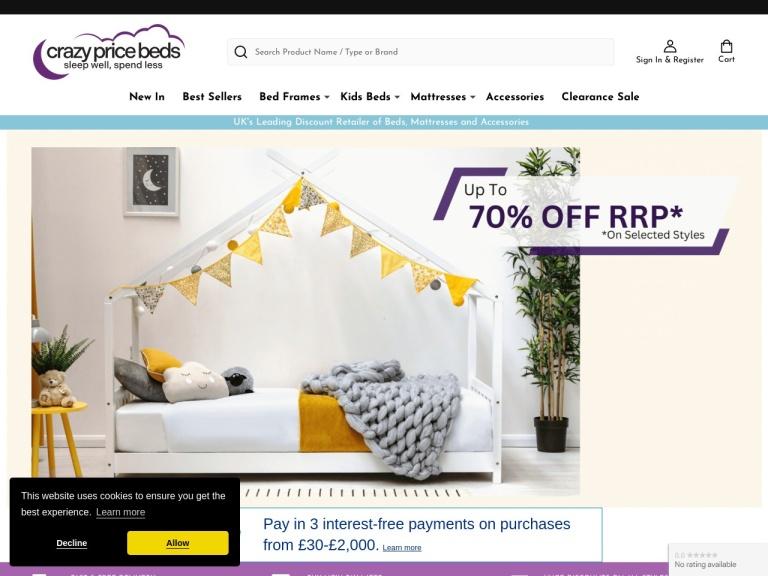 Crazy Price Beds Discount Codes screenshot