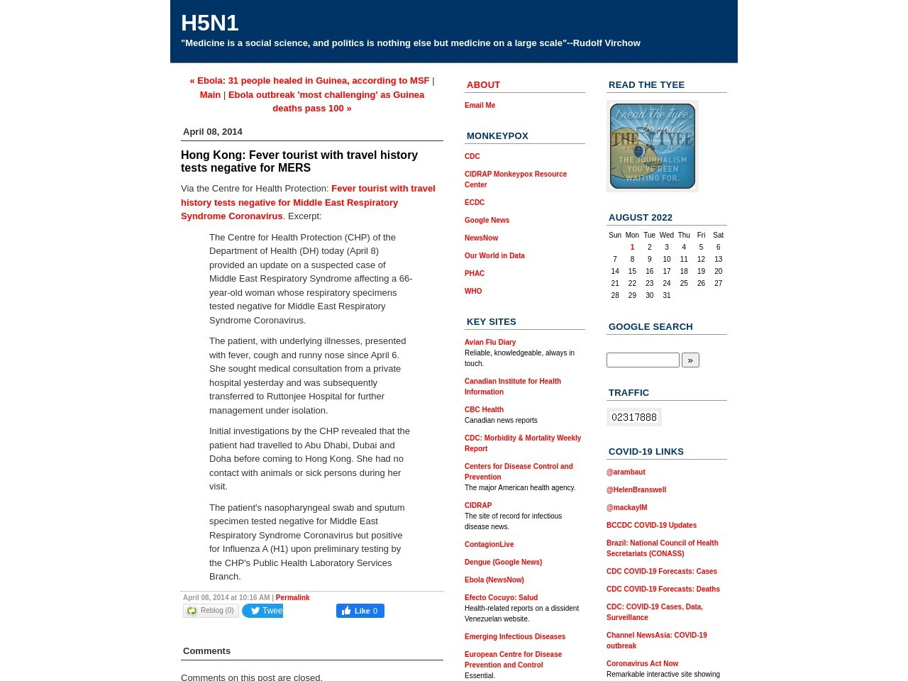 H5N1: Hong Kong: Fever tourist with travel history tests …