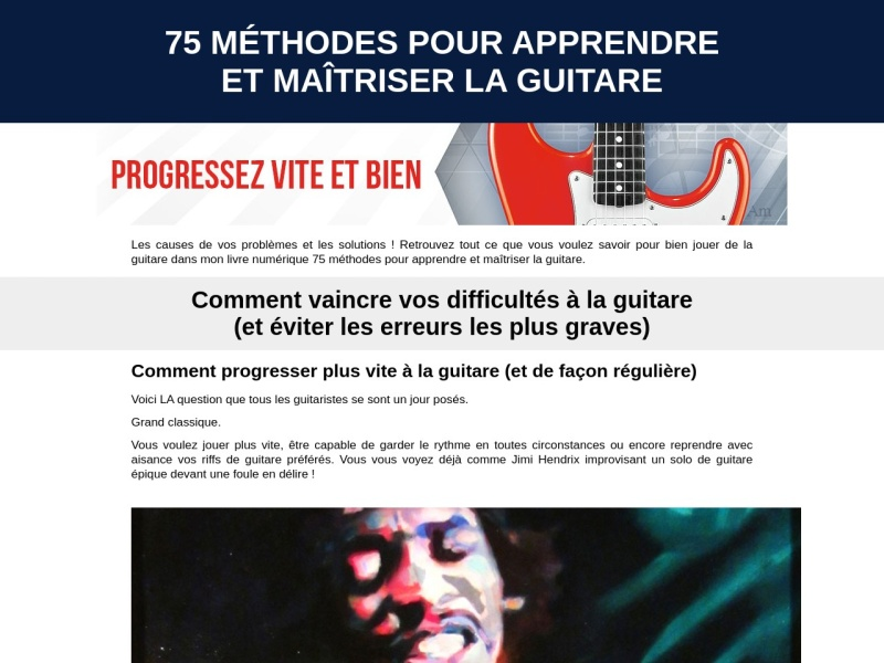 75 methodes pour apprendre et maitriser la guitare