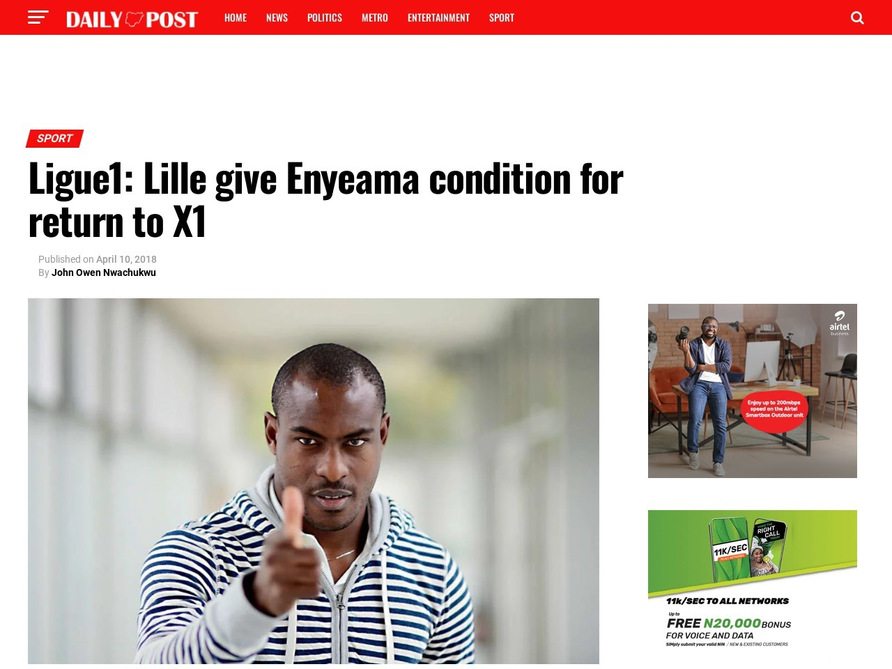 Ligue1: Lille give Enyeama condition for return to X1