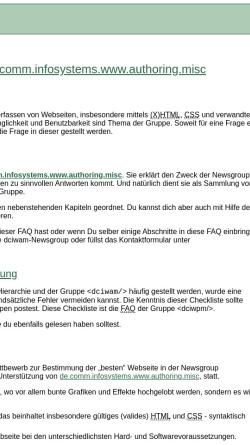 Vorschau der mobilen Webseite dciwam.de, de.comm.infosystems.www.authoring.misc