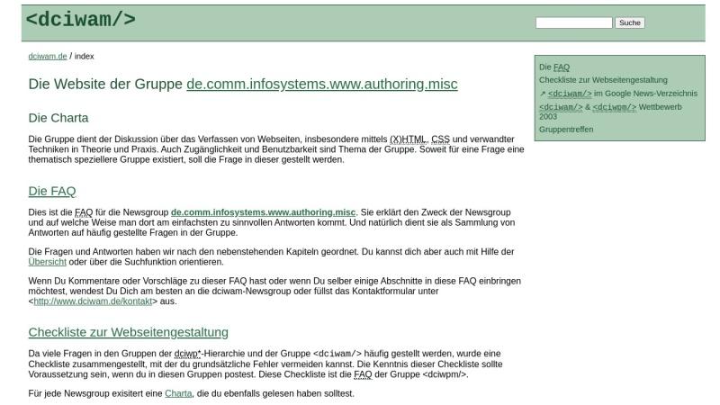 dciwam.de Vorschau, de.comm.infosystems.www.authoring.misc