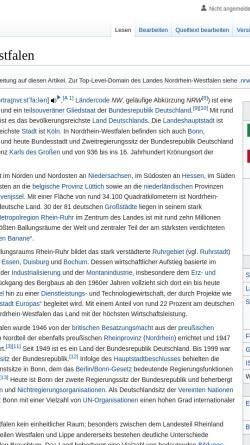Vorschau der mobilen Webseite de.wikipedia.org, Wikipedia: Nordrhein-Westfalen