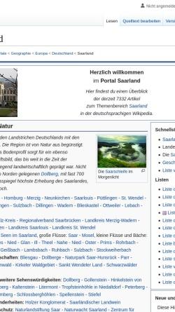 Vorschau der mobilen Webseite de.wikipedia.org, Saarland bei Wikipedia