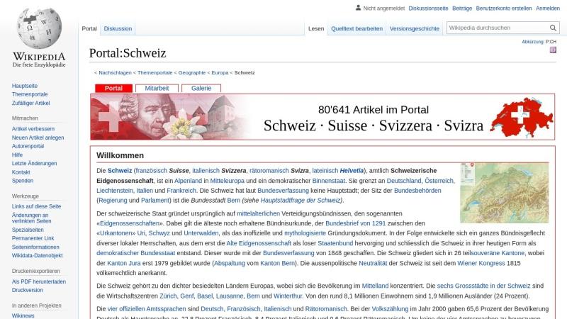 de.wikipedia.org Vorschau, Portal Schweiz