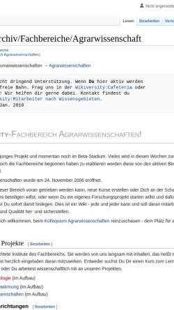 Vorschau der mobilen Webseite de.wikiversity.org, Wikiversity: Fachbereich Agrarwissenschaften