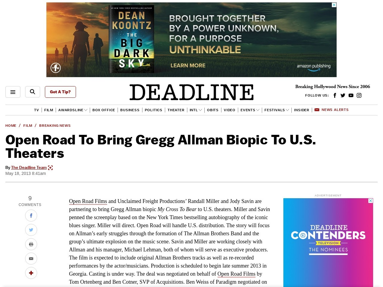 Open Road To Bring Gregg Allman Biopic To U.S. Theaters …