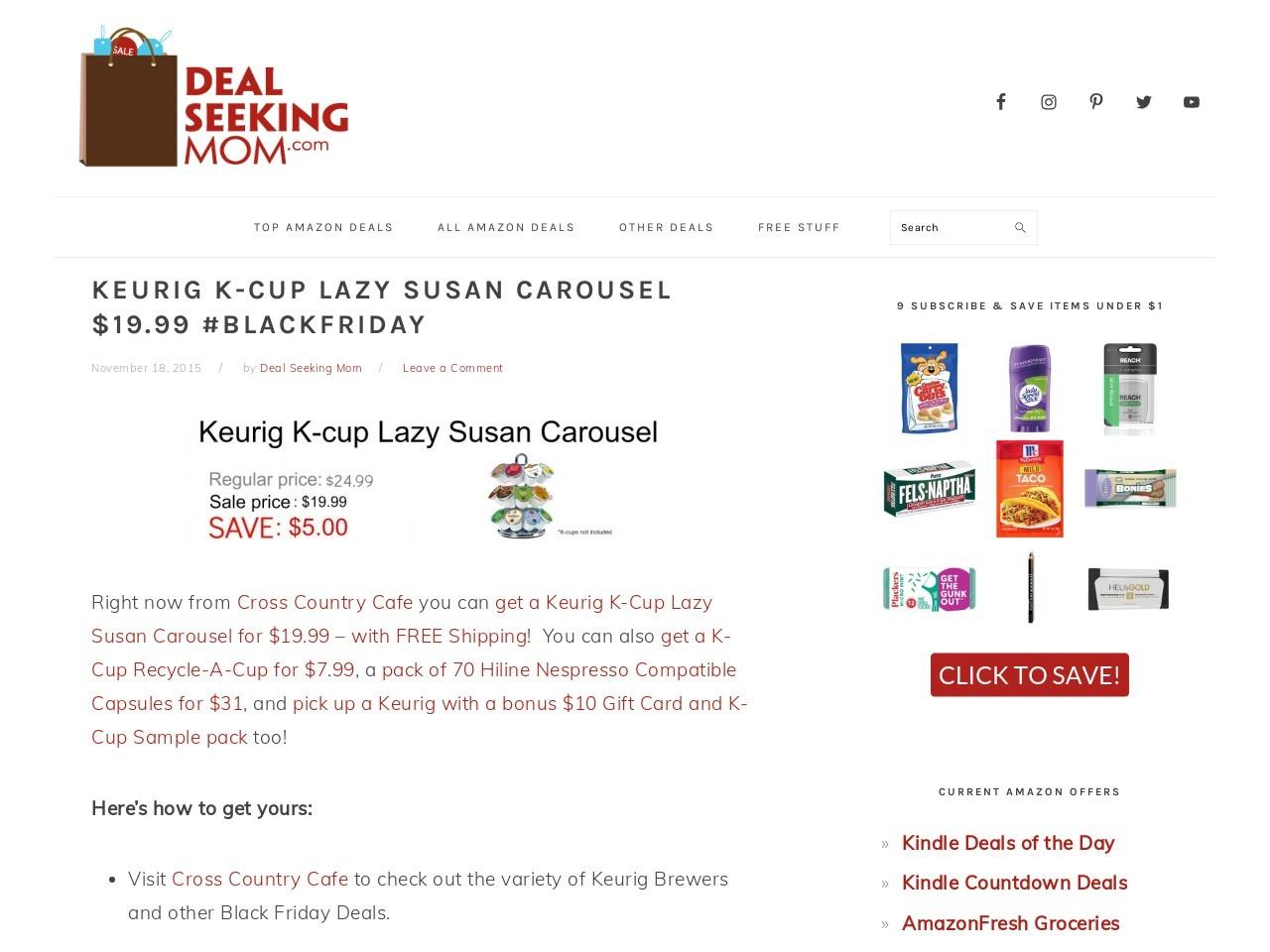 Keurig K-Cup Lazy Susan Carousel $19.99 #BlackFriday