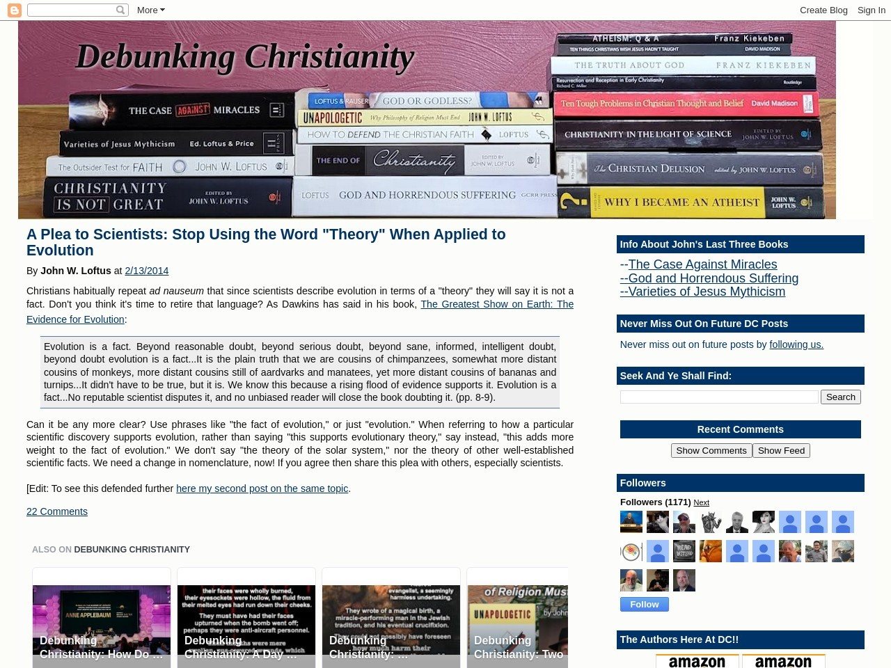 Debunking Christianity: A Plea to Scientists: Stop Using the Word …