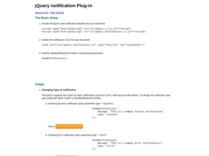 jQuery notification Plugin