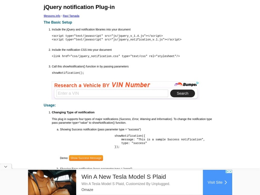 jQuery notification Plugin