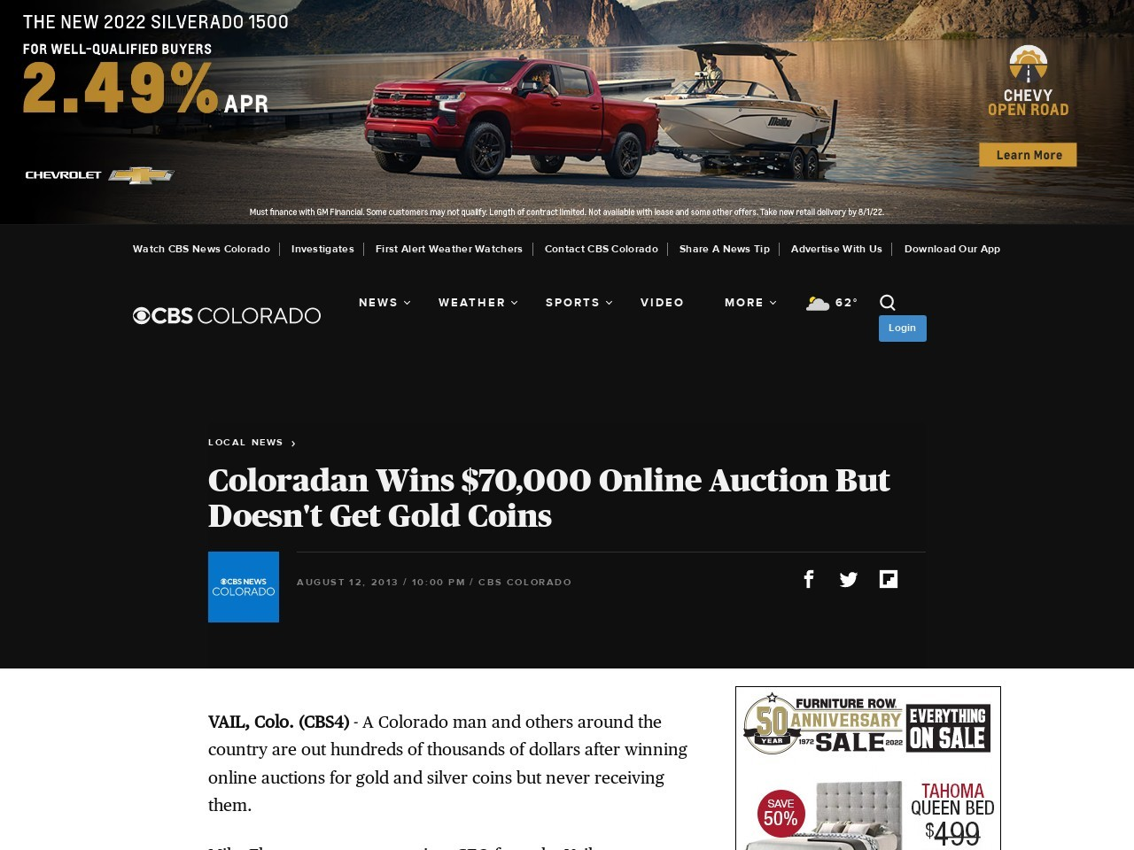 Coloradan Wins $70000 Online Auction But Doesn't Get Gold Coins