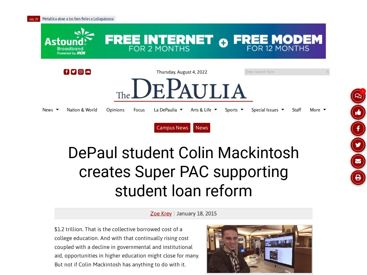 DePaul student Colin Mackintosh creates Super PAC supporting student loan …
