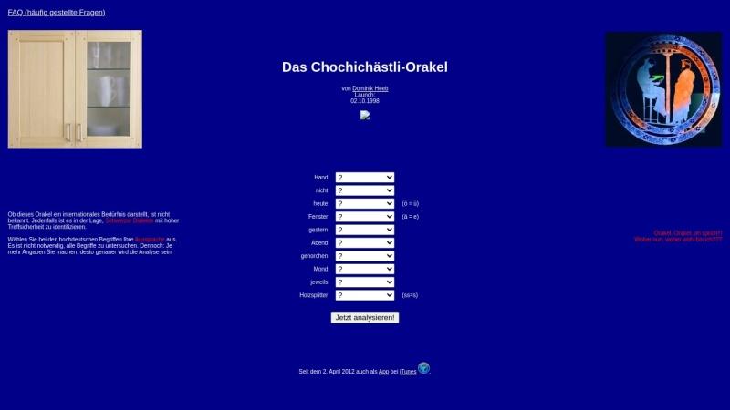 dialects.from.ch Vorschau, Das Chochichästli-Orakel