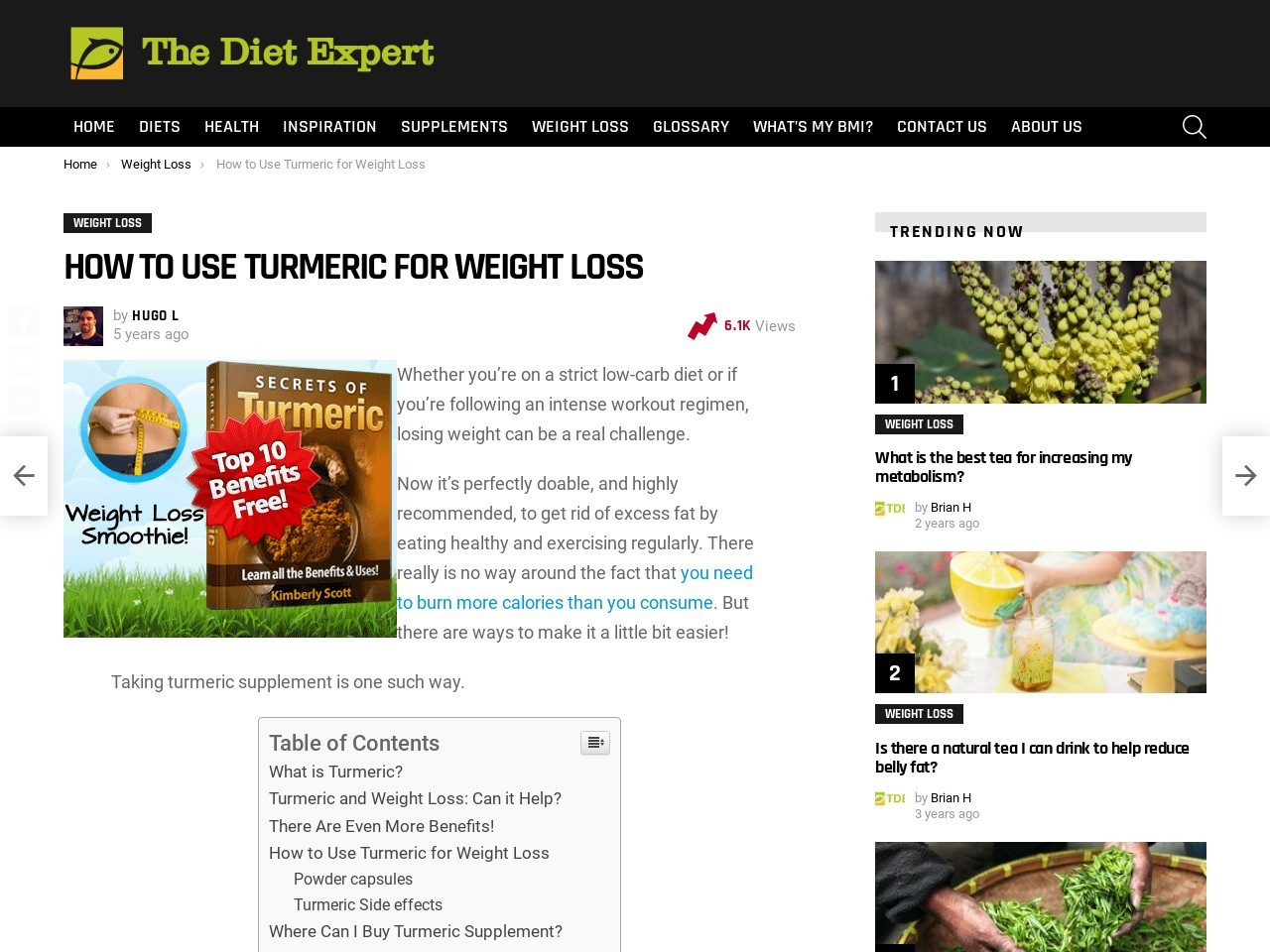 How to Use Turmeric for Weight Loss | The Diet Expert