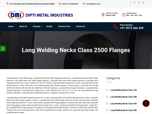 Long Weld Neck Class 2500 Flanges Manufacturers in Mumbai
