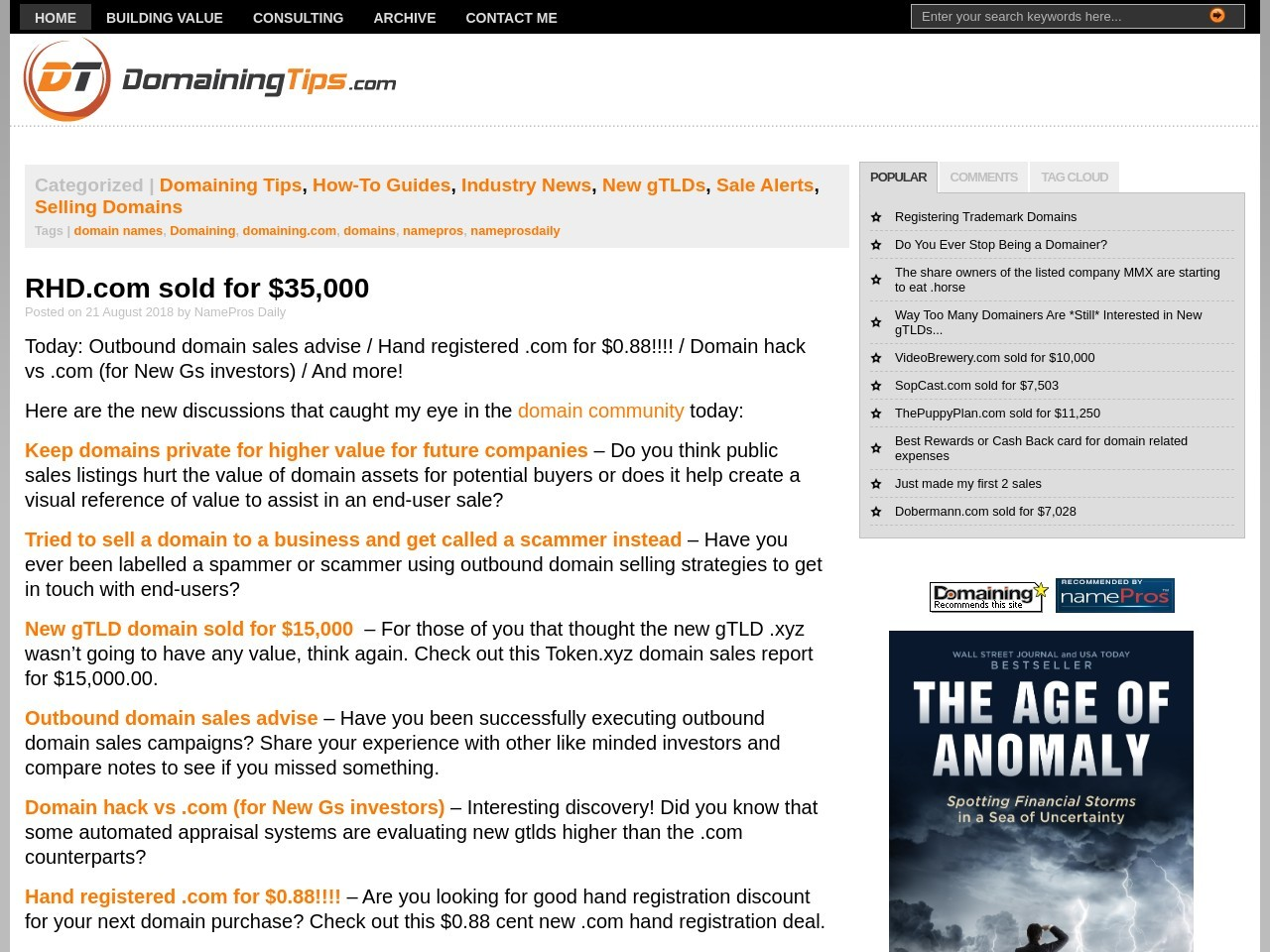 RHD.com sold for $35,000