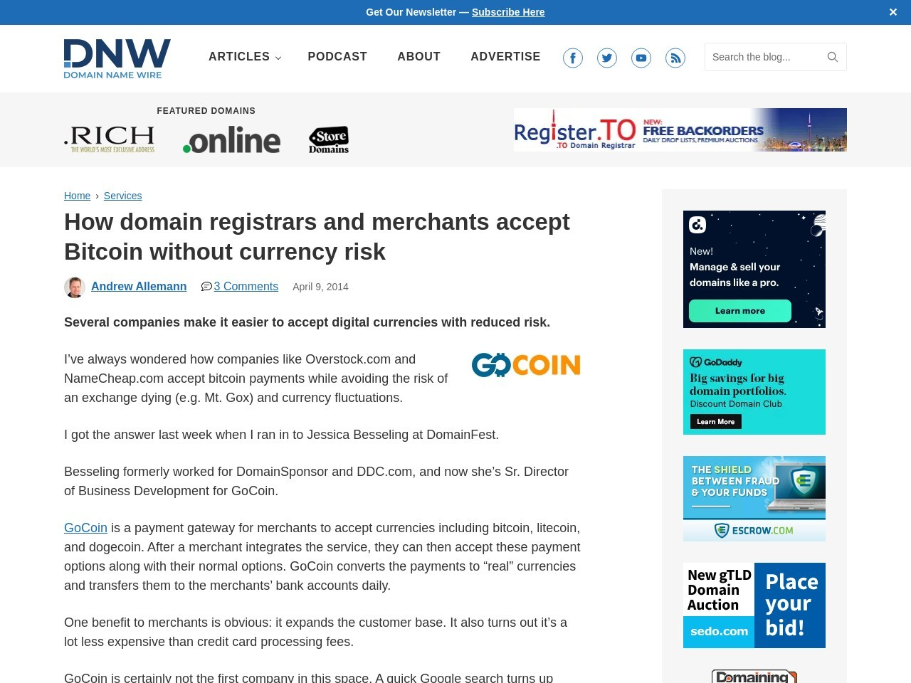 How domain registrars and merchants accept Bitcoin without currency risk