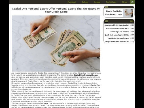 Capital One Personal Loans Offer Personal Loans That Are Based on Your Credit Score