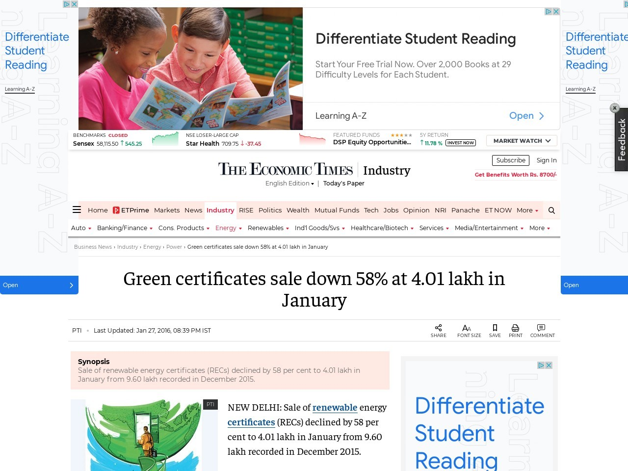 Green certificates sale down 58% at 4.01 lakh in January