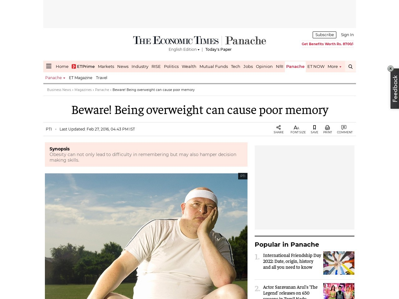 Beware! Being overweight can cause poor memory