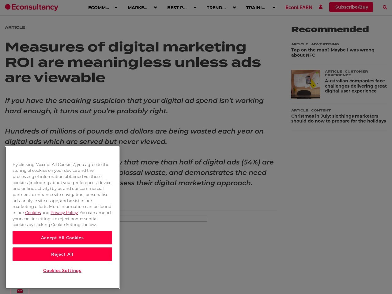 Measures of digital marketing ROI are meaningless unless ads are …