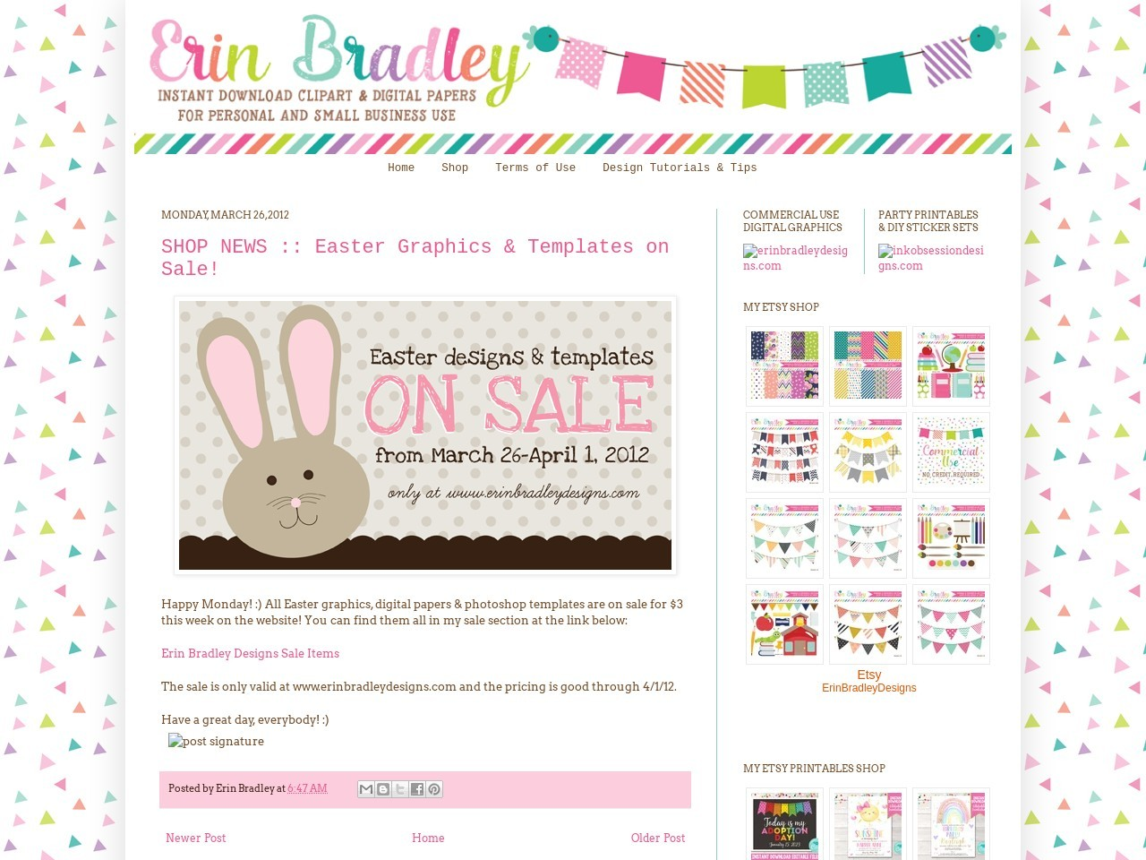 Erin Bradley Designs: SHOP NEWS :: Easter Graphics & Templates …